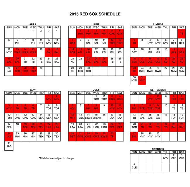 2015 Red Sox Schedule