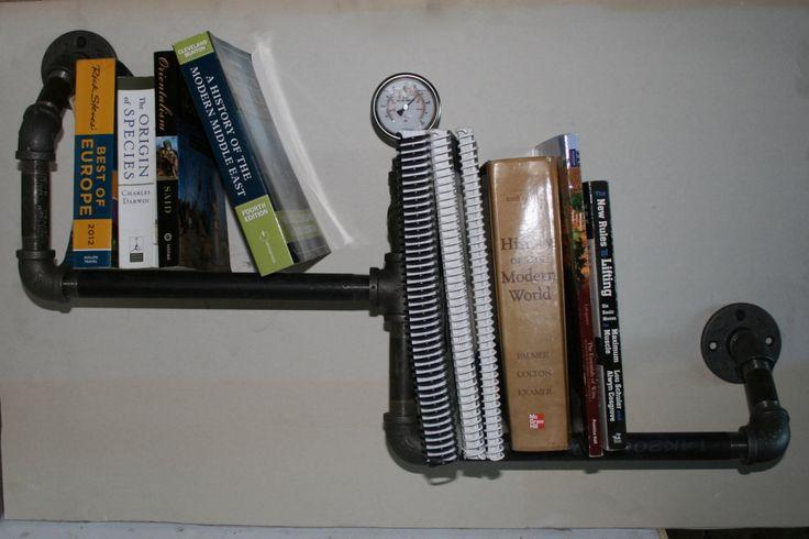 Industrial Book Shelf | Magazine Rack | Steampunk Bookshelf | Pipe shelf | Book Rack | by SalisburyWoodnSteel on Etsy