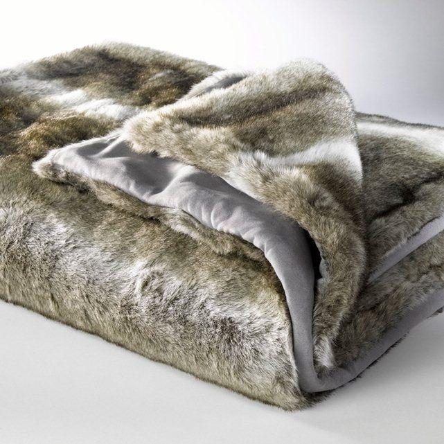 BAZSO Faux Wolf Fur Throw La Redoute Interieurs