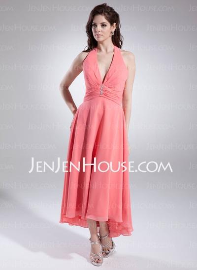 Bridesmaid Dresses - $91.99 - A-Line/Princess Halter Tea-Length Chiffon Bridesmaid Dresses With Ruffle (007001145) http://jenjenhouse.com/A-line-Princess-Halter-Tea-length-Chiffon-Bridesmaid-Dresses-With-Ruffle-007001145-g1145