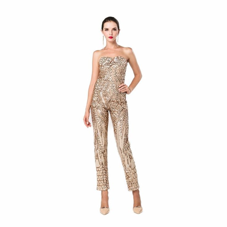 Gold Sequin Jumpsuit Sexy Party Day to Night Club Strapless Trendy