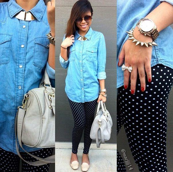 Fall outfit! Polka dot leggings