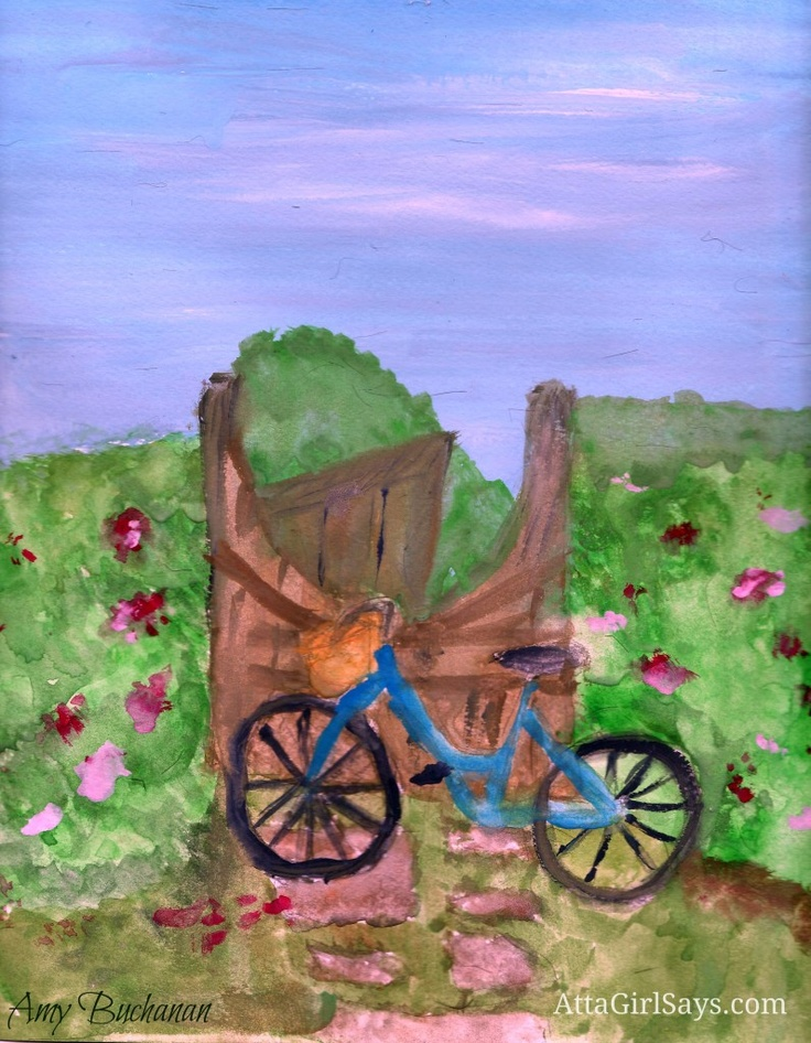 Magazine copycat watercolor painting by @attagirlsays: Watercolor Paintings, Watercolor Inspiration, Copycat Watercolor, Paintings Projects, Bicycles Watercolor
