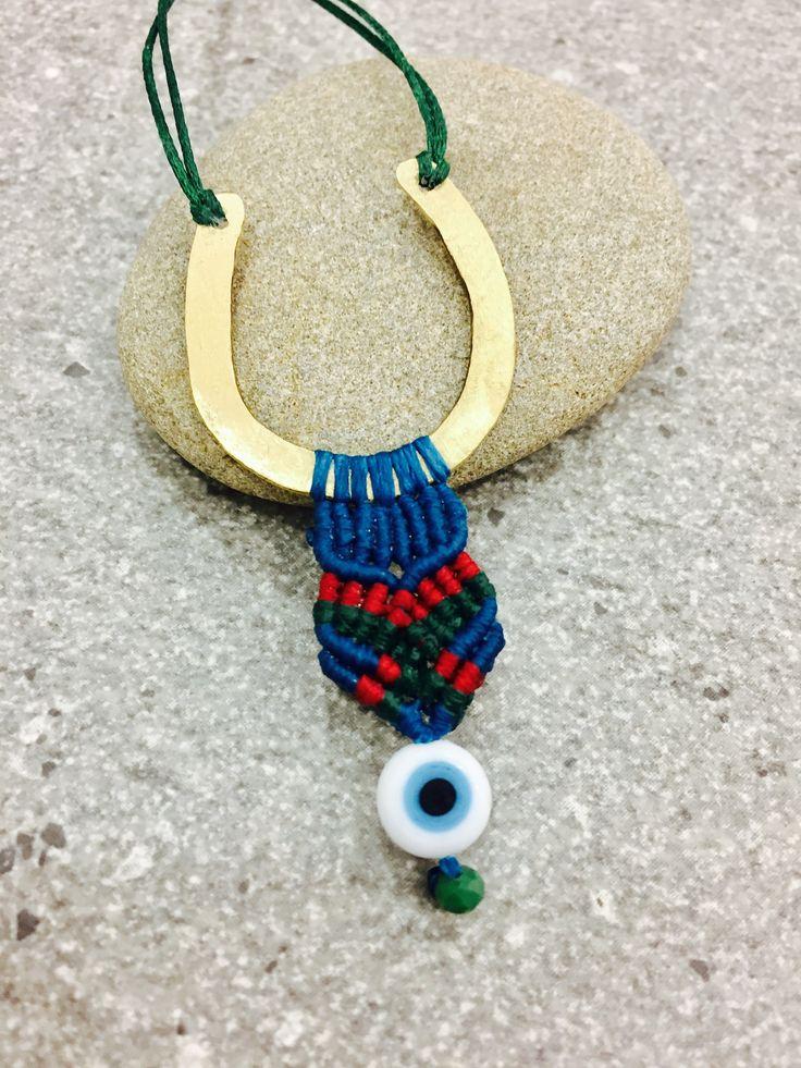 Brass Horseshoe Macrame Necklace... Made by Yoen!