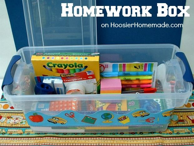 Homework Box :: on HoosierHomemade.com  Nice alternative to a Homework Caddy - the lid can keep out younger siblings