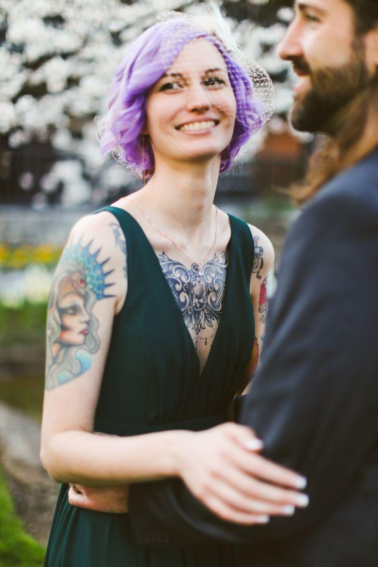 Purple Bridal hair - Birdcage Veil - green wedding dress - Rock 'n' Roll Bride - Tattoo Bride - Bourbon Wedding - Distillery