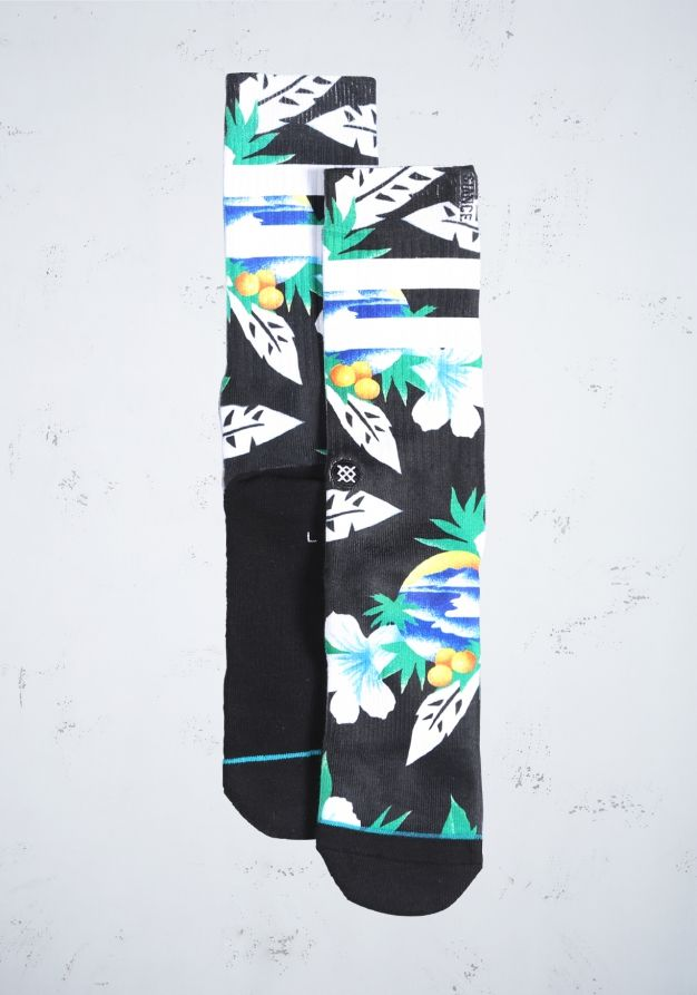 Met de Newport sokken van Stance waan je je even op een tropisch gebied door het unieke ontwerp. Zowel het hiel- als het teenstuk is verstevigd, wat zorgt voor extra draagcomfort. Een leuk detail aan de sokken is het turquoise streepje langs de teen. Materiaal: 36% katoen, 41% polyester, 10% spandex, 13% elastiek