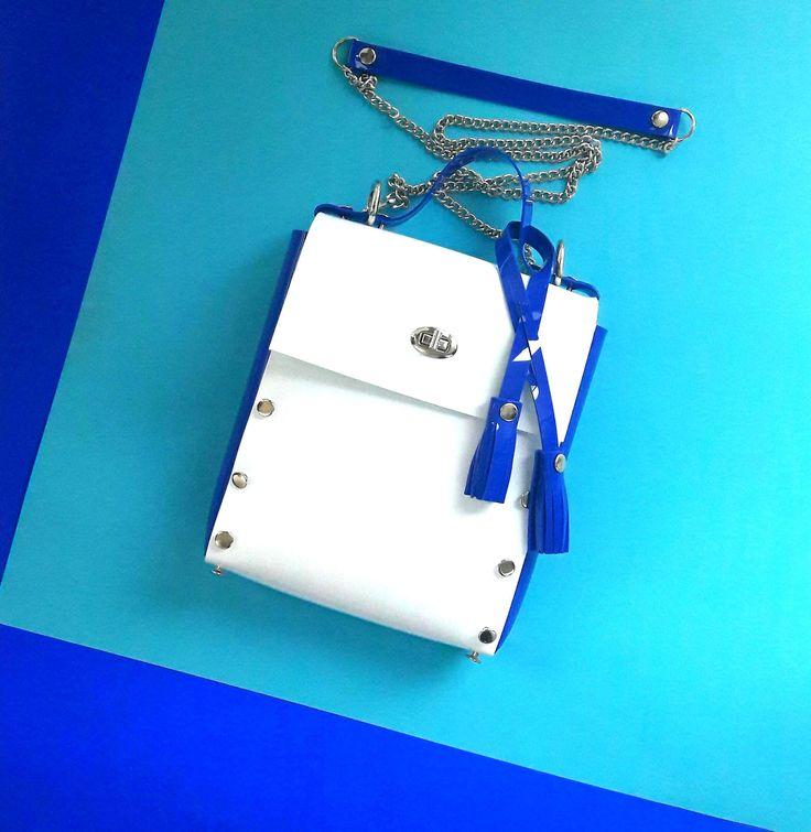 White and blue messenger bag, vegan pvc bag, nautical messenger bag, minimalist tassel bag, crossbody minimal bag, gift for woman, stachel by YPSILONBAGS on Etsy