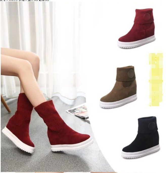 Women Round Toe Mid Calf  Boots Nubuck Elastic Low Heel Fashion Ankle Boots