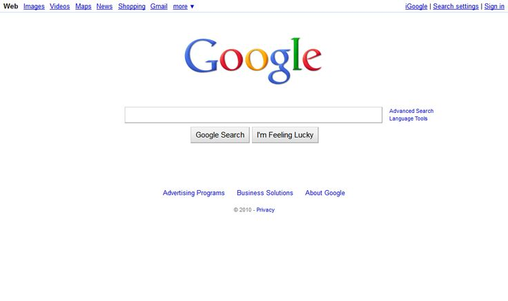 Google website in 2010