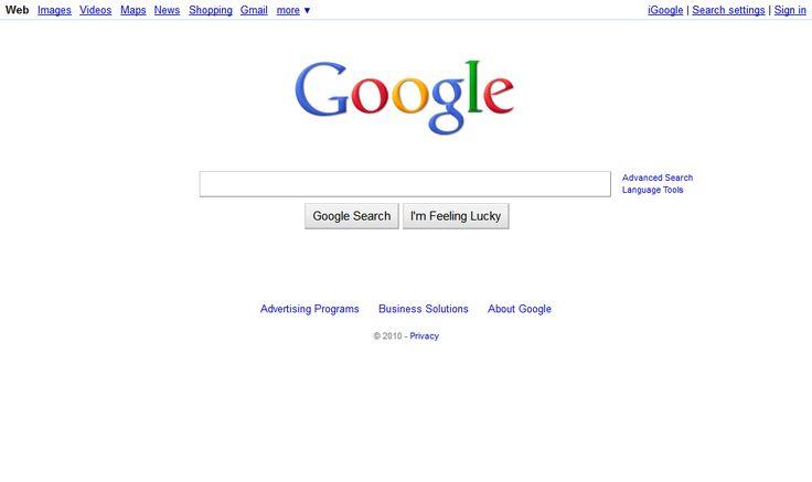 Google website in 2010