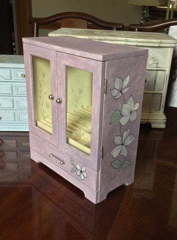 Painted Jewelry Box // Vintage Jewelry Box by ByeByBirdieDesigns