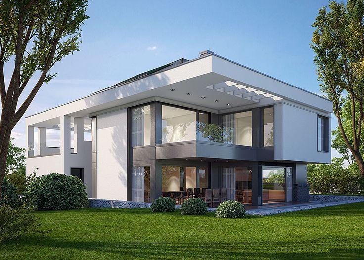 Dom nowoczesny - niezwykle widne pomieszczenia, sporych rozmiarów tarasy i ciekawa bryła budynku. Zobaczcie więcej :)