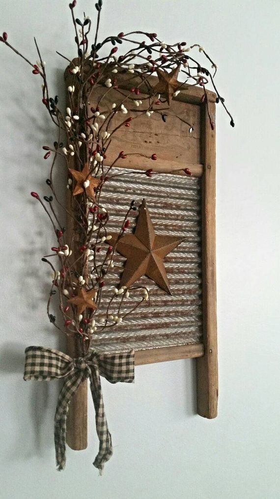 Small, Rustic, Primitive, Vintage Washboard Decor …