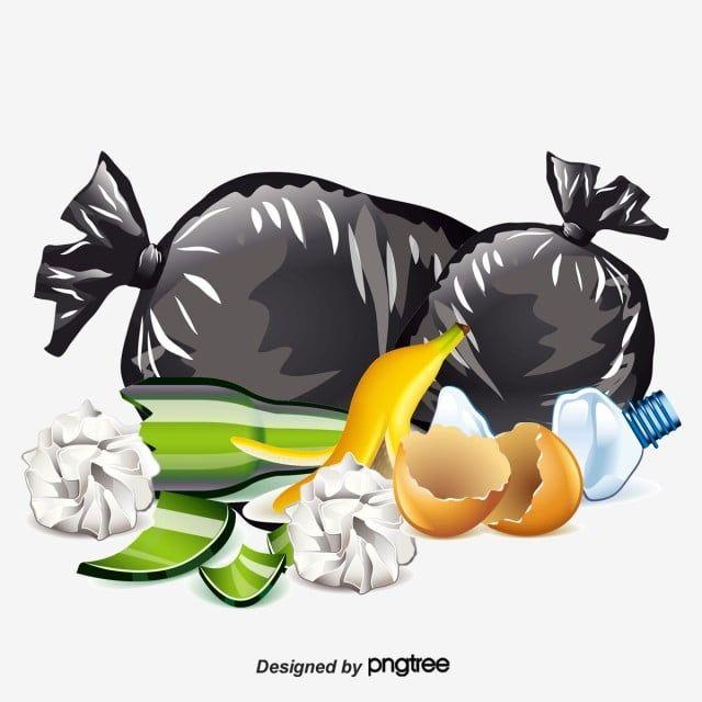 Vector Hand Painted Black Garbage Bags Vector And Png Vector Hand Hand Painted Free Vector Graphics