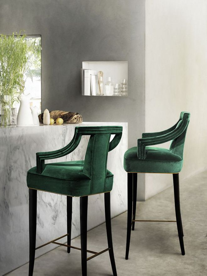 Classic Green Velvet Breakfast Bar Stools. These Modern Counter Stools Will  Add Elegance And Modernity