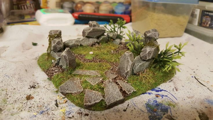 Ruined stone house to add to the Celtic Ruins set Jay's building for his personal gaming table.