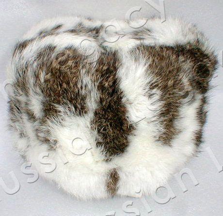 Spotted rabbit fur ushanka $99.99