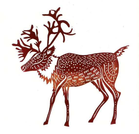 original lino print Caribou  Mulled Wine by adeegan on Etsy, £13.00