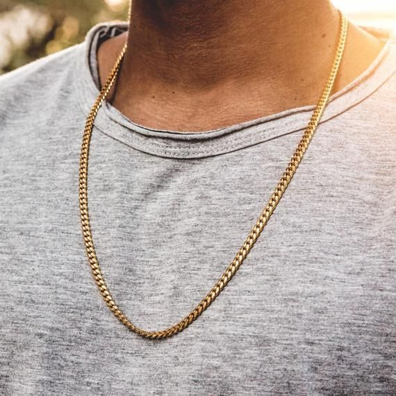 4mm Thick 18ct Gold Filled Cuban Curb Chain Bracelet In 2020 Mens Gold Chain Necklace Mens Chain Necklace Cuban Link Chain Necklaces