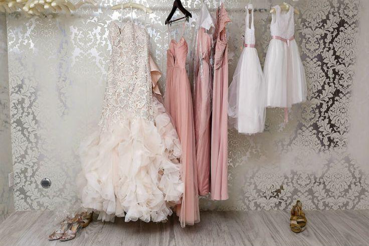 Beautiful blush bridesmaid dresses and mermaid wedding dress (FineArt Studio Photography)