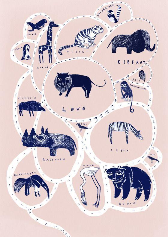 Zoo poster | Illustrator: Signe Kjær | Prints available - click for details