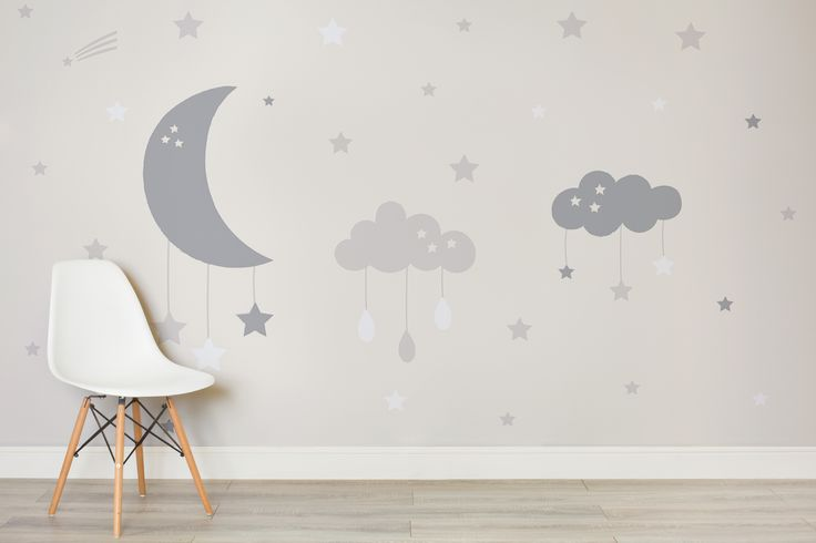 If you're looking to create a charming and calming space in your baby's nursery, our uniqueBaby Clouds and Moon Wall Mural design features a large clouds and a crescent moon that act as baby cot mobiles, with little stars and raindropshanging from them. This adorable mural has muted a soft beige and taupe colour palette...  Read more