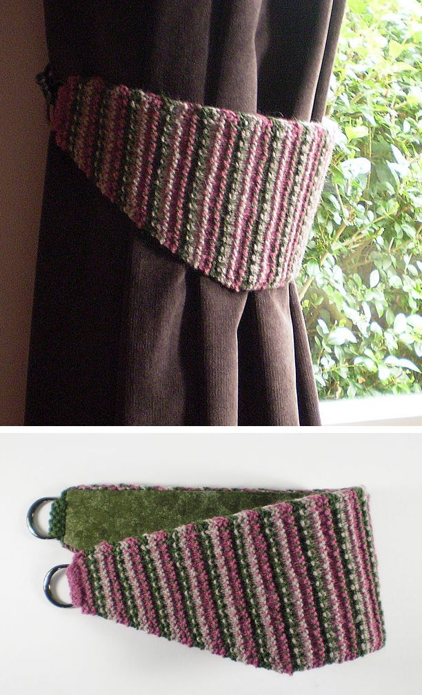 Free Knitting Pattern for Curtain Tiebacks - These drapery tiebacks are knit in a 3 color slip stitch pattern and lined with fabric. 3 sizes. Designed by Frankie Brown
