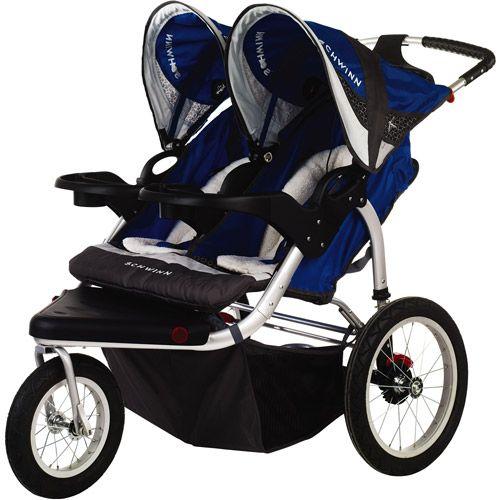 Schwinn - Turismo Double Jogging Stroller, Blue for the future.