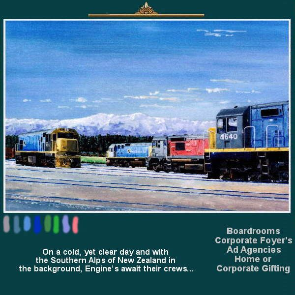 On a cold, yet clear day and with the Southern Alps of New Zealand in the background, Engine's await their crews... Your engine – Your Train, Your way… From Sketches & Drawings to Canvas and art, with Railway artist Mal Hazeldean..  https://www.youtube.com/watch?v=s1rg_kixu_w greatvideo@yahoo.com.au