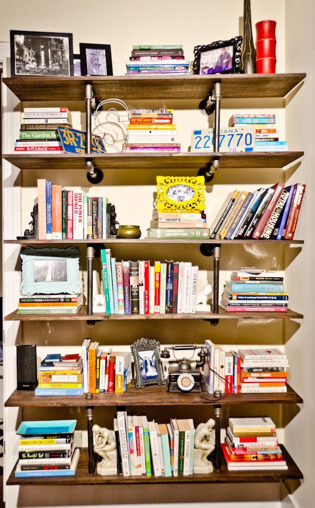 diy pipe bookshelves home diy tutorials tuyau. Black Bedroom Furniture Sets. Home Design Ideas