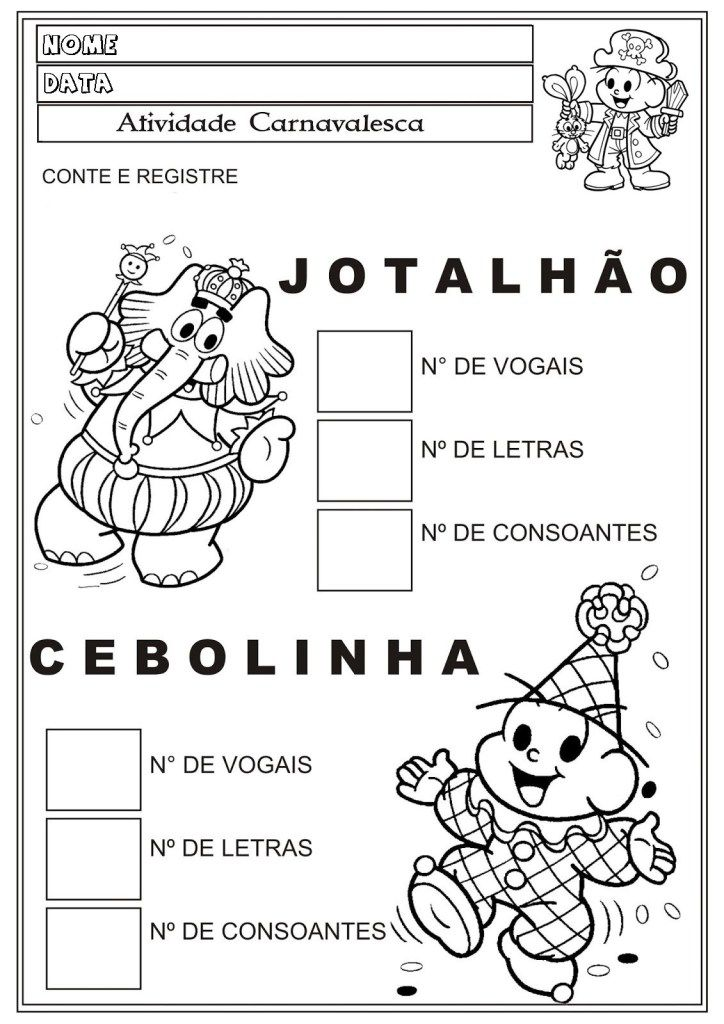 60 Atividades De Carnaval Para Imprimir Educacao Infantil