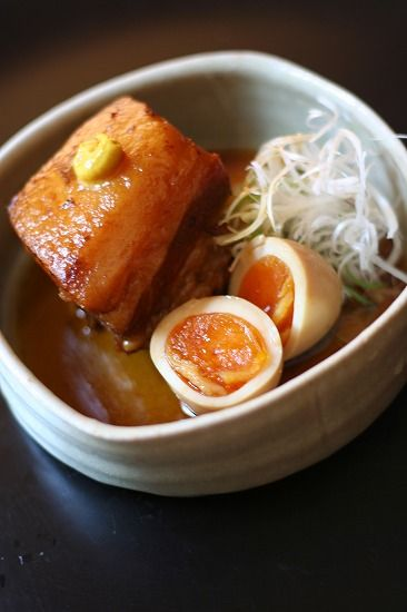 Japanese Food Buta-no-Kakuni (豚の角煮), Soy Braised Pork Belly Dice with Soft Boiled Egg