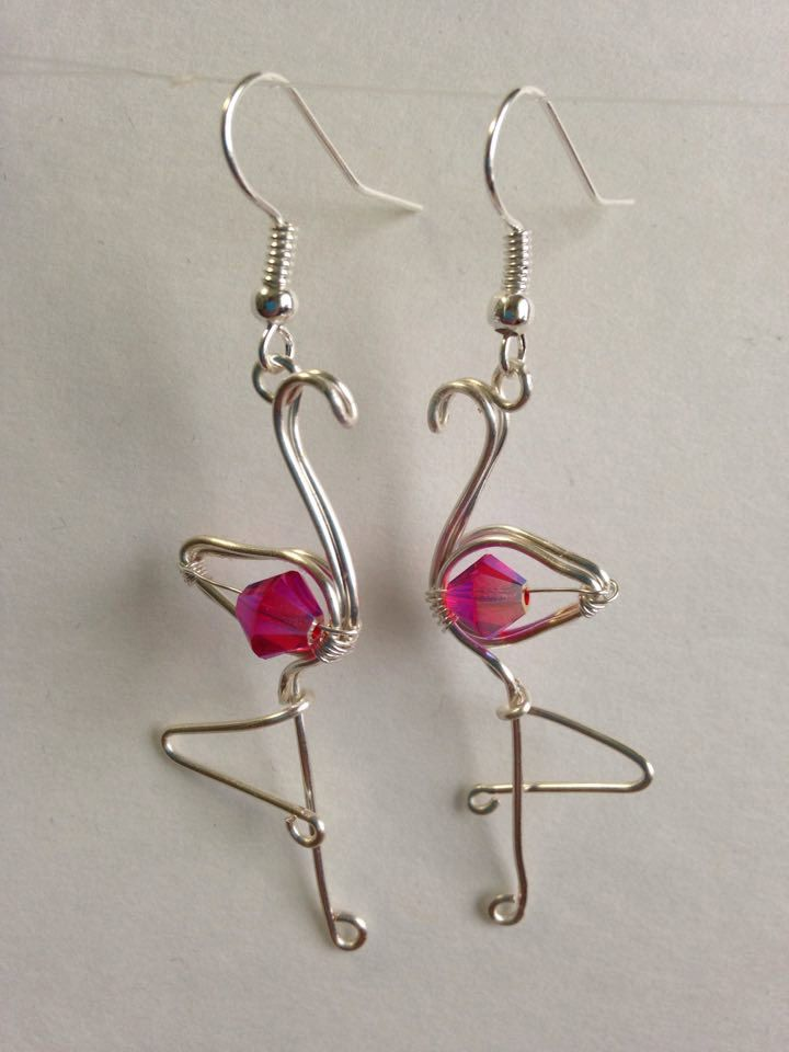 Pink flamingo earrings, wire wrapped flamingo, flamingo jewelry, made in USA, hypo-allergenic by FreeStyles on Etsy