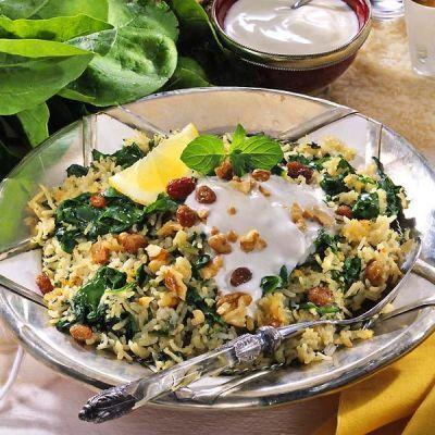 Receitas - Arroz persa de espinafre - Petiscos.com