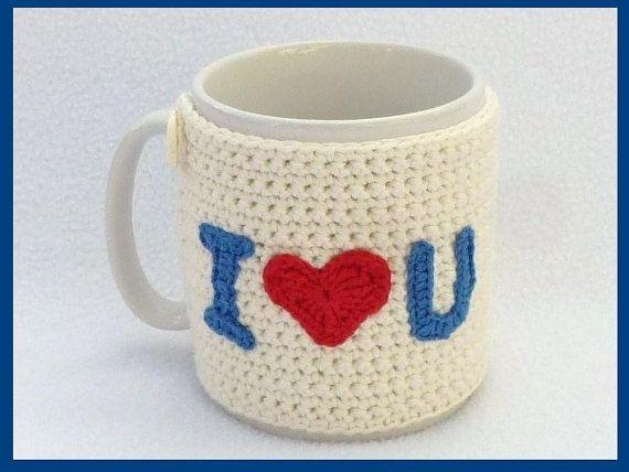 Valentines  mug cozy cream with crochet applique by MyfanwysMakes, £9.00