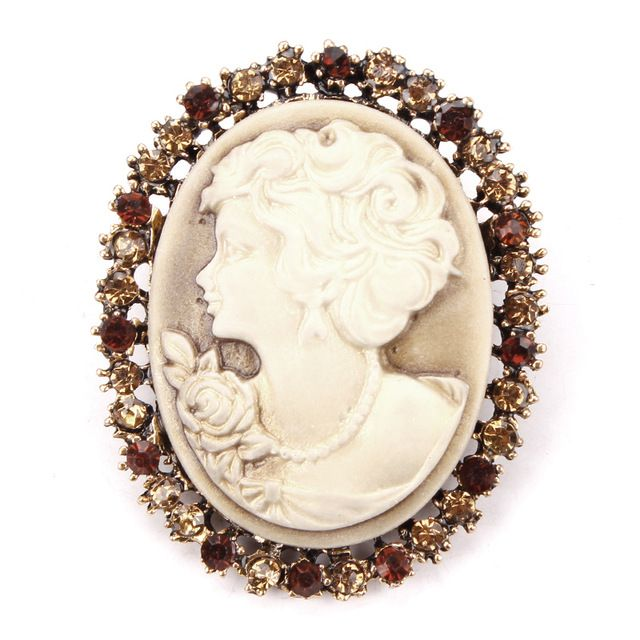 Crystal Rhinestones Surrounding Cameo Pins and Brooches in antique gold or antique silver plated