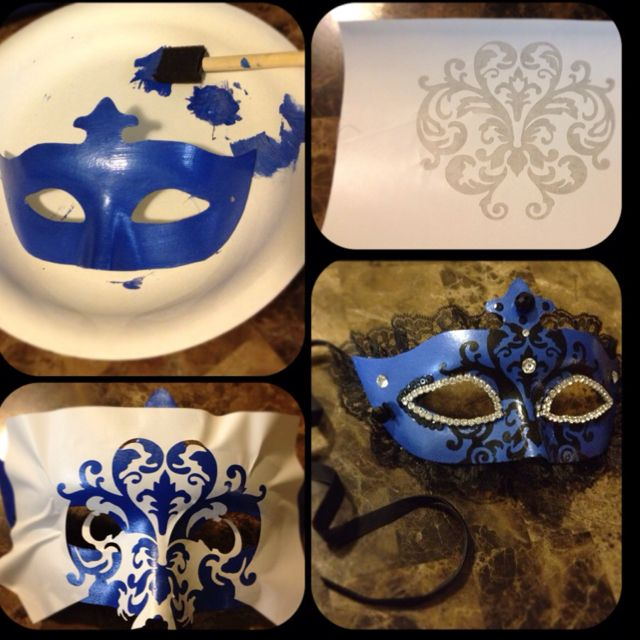 Masquerade - paint on desired color, print out a mask to apply, add beads, laces and trims