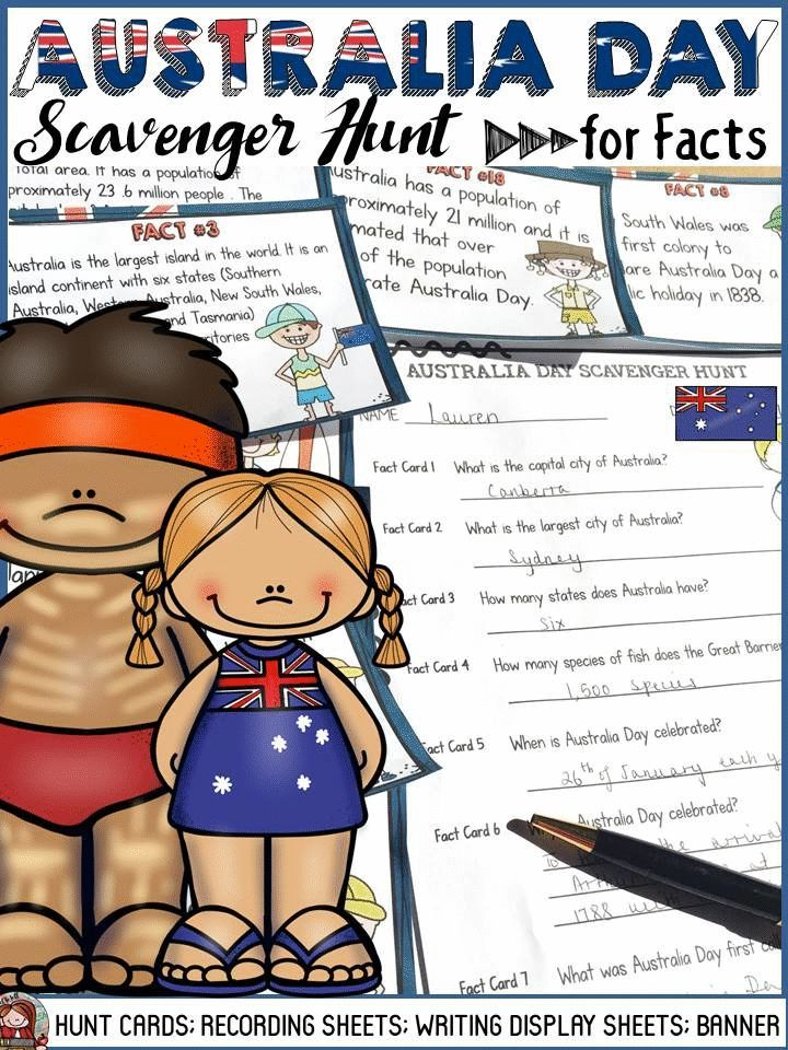 Australia Day fact cards will take your students on a Scavenger Hunt for interesting facts on why and how Australia Day is celebrated in Australia. Your students will have fun as they document their learning on Recording Sheets and design poster templates after finding answers to key questions during the Scavenger Hunt. This is sure to make an interesting classroom display.  https://www.teacherspayteachers.com/Product/AUSTRALIA-DAY-2307069