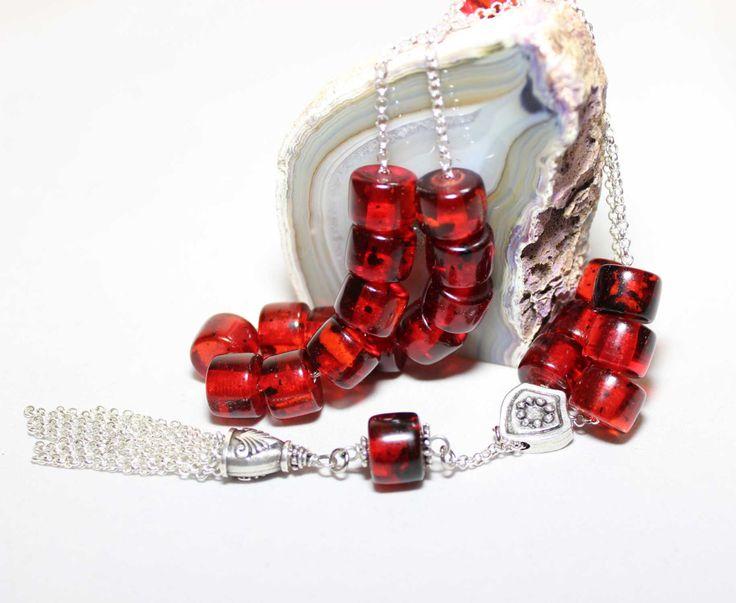 Dark Red Faturan color Worry Beads, Handmade Greek Komboloi, Chain cord & Tassel, Relaxation, Meditation by AlterDecoCoinsnBeads on Etsy #worrybeads #komboloi #tesbih #prayerbeads