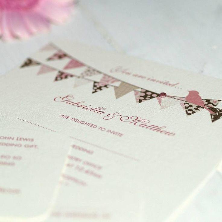 wedding invitation wording funky%0A Pretty Days  Personalised Cupcake  u     Bunting Wedding Invites