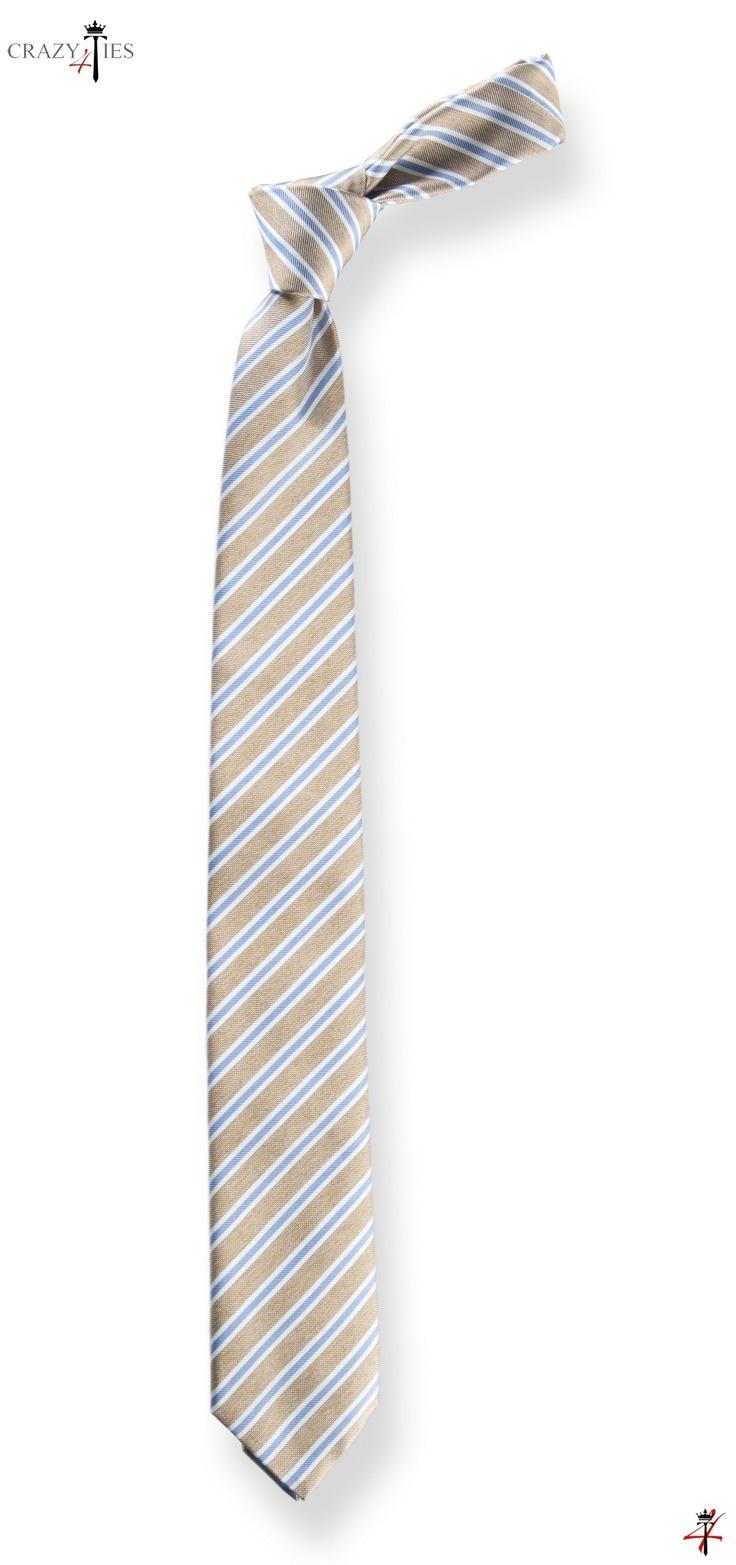 Cravatta New Regimental in Seta Tinta in Filo Nocciola a Righe Grigio Azzurre
