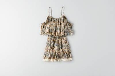 AEO Ruffle   Fringe Trim Romper by  American Eagle Outfitters | Channel your inner flower child with fresh takes on classic floral prints.  Shop the AEO Ruffle   Fringe Trim Romper and check out more at AE.com.