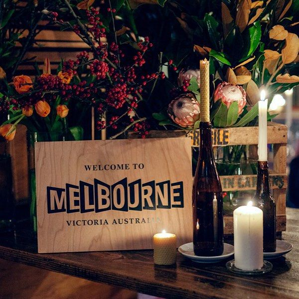 Another great shot from @lettuceandco of a sign we made for their #melbournetourism event at @st_ali. The sign was printed on cherry wood and mounted to plywood.  #printonwood #woodblockmount #cherrywood #plywood
