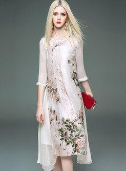 Vintage Embroidery Silk Three Quarters Sleeve Shift Dress
