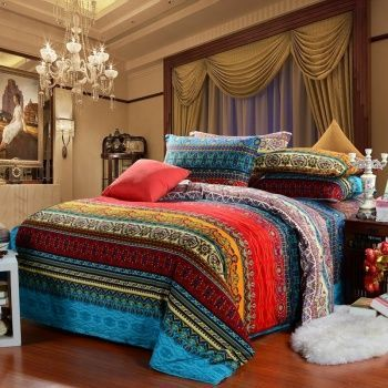 Aqua Blue and Garnet Red Vintage BOHO Style Exotic Indian Pattern Multi-color Stripe Print Full, Queen Size Bedding Sets