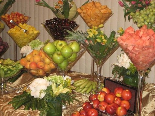 Love the giant martini glasses used to display fruit for