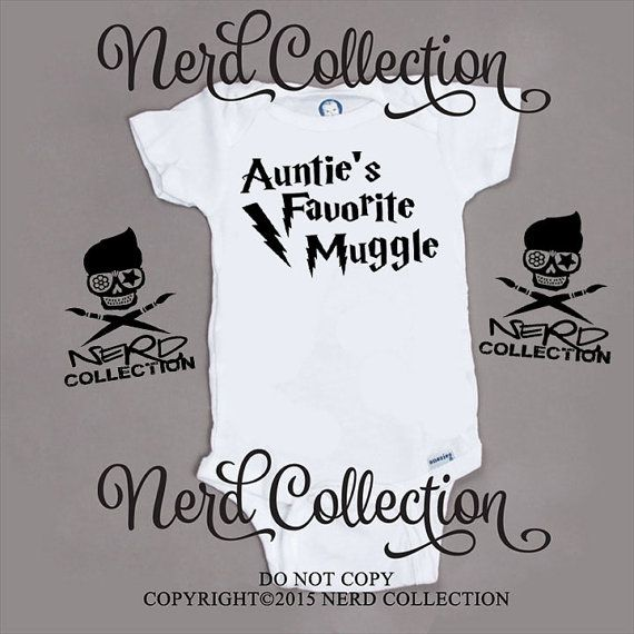 Baby Onesie Auntie's Favorite Muggle Aunt New by NerdCollection