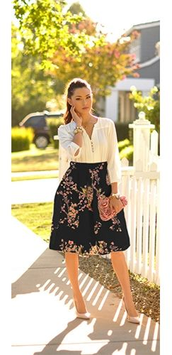 Black Pink Cherry Blossom Floral High Waisted A Line Summer Flare Midi Skirt