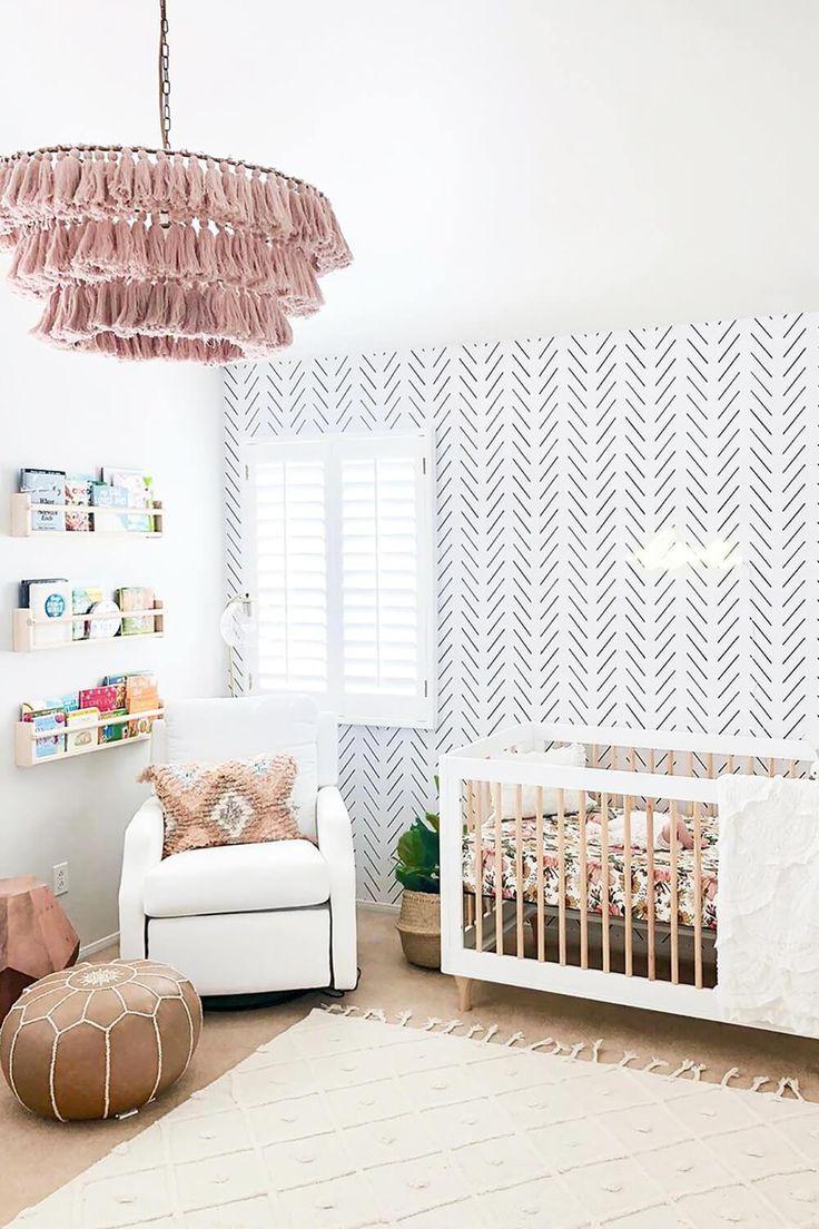 White Bohemian Baby Girl Nursery   Herringbone wallpaper ...